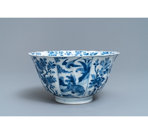 Rob Michiels AuctionsA Chinese blue and white bowl with mythical beasts and flowers, Kangxi