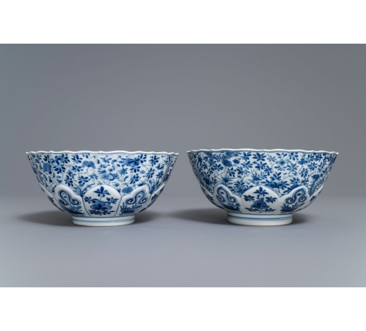 Rob Michiels AuctionsA pair of Chinese blue and white floral bowls, Chenghua mark, Kangxi