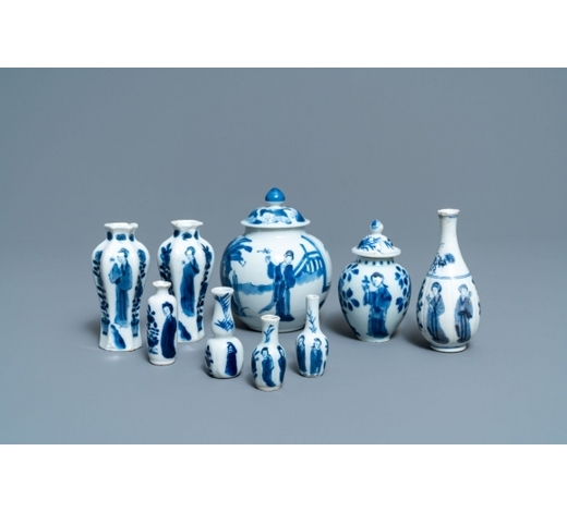 Rob Michiels AuctionsNine small Chinese blue and white 'Long Eliza' vases, Kangxi