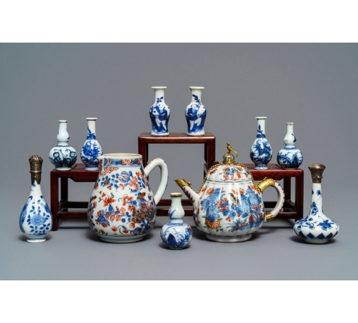 Rob Michiels AuctionsNine Chinese blue and white miniature vases, an 'Amsterdams bont' teapot and a milk jug, Kangxi and later