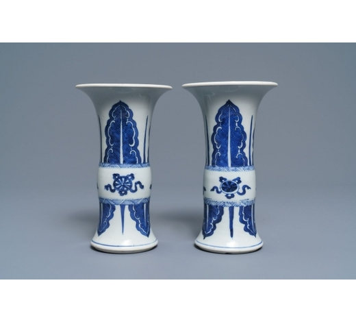 Rob Michiels AuctionsA pair of Chinese blue and white 'gu' vases, Kangxi