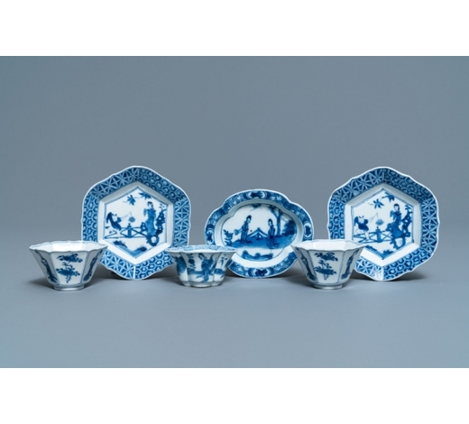 Rob Michiels AuctionsThree Chinese blue and white cups and saucers, Chenghua and hall marks, Kangxi