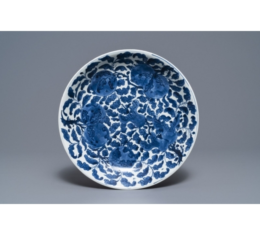 Rob Michiels AuctionsA Chinese blue and white charger with sanduo fruits among foliage, Kangxi