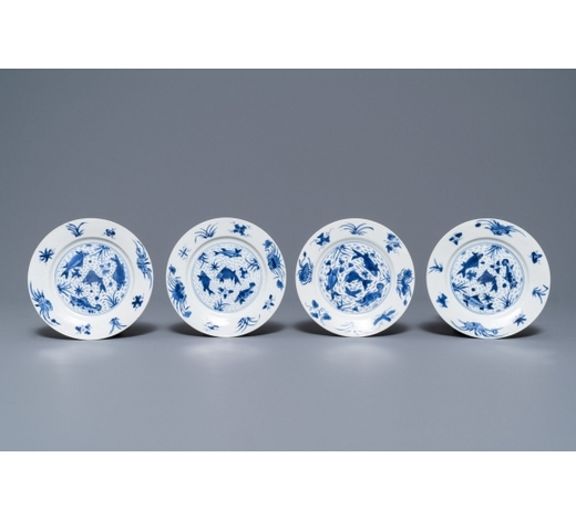 Rob Michiels AuctionsFour Chinese blue and white 'fish in a pond' plates, Kangxi mark and of the period