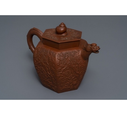 Rob Michiels AuctionsA large Chinese Yixing stoneware teapot with applied design, Kangxi