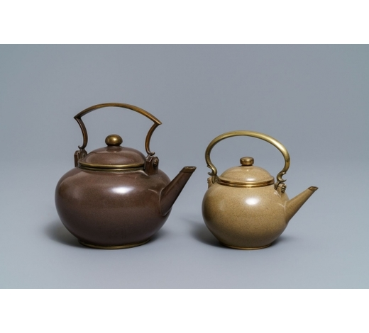 Rob Michiels AuctionsTwo Chinese Bencharong Thai market polished Yixing stoneware teapots, 19th C.