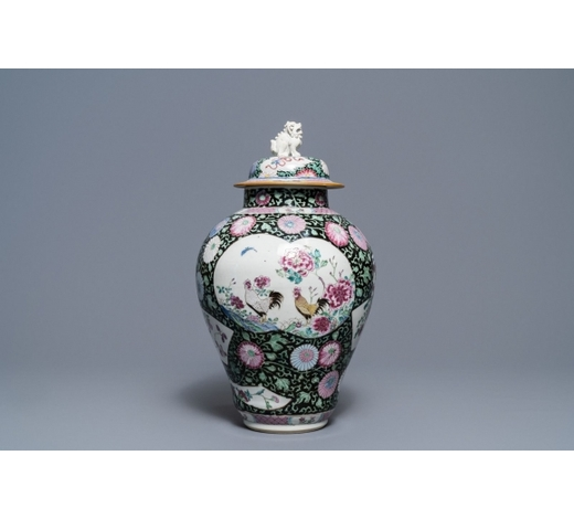 Rob Michiels AuctionsA Chinese famille rose 'rooster' baluster jar and cover, Yongzheng