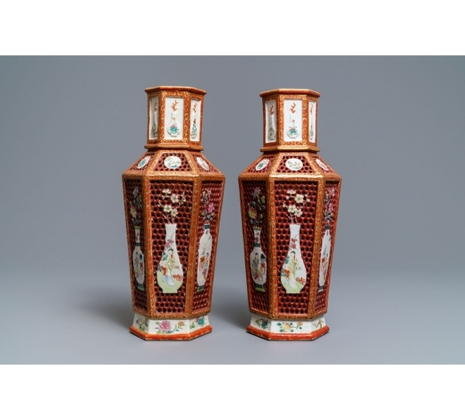 Rob Michiels AuctionsA pair of Chinese reticulated double-walled hexagonal famille rose vases, Yongzheng