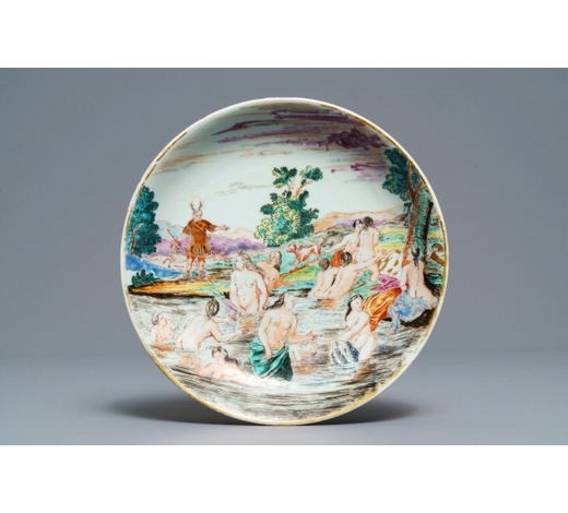 Rob Michiels AuctionsA Chinese famille rose eggshell 'Diana and Actaeon' plate with Dutch inscription, Yongzheng