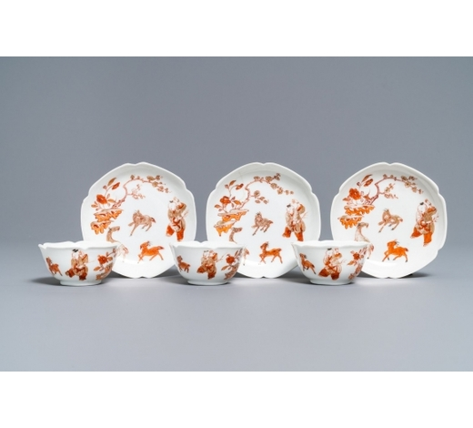 Rob Michiels AuctionsThree Chinese iron red eggshell cups and saucers with boys and goats, Yongzheng