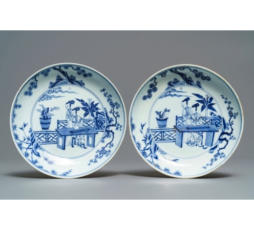 Rob Michiels AuctionsA pair of Chinese blue and white 'Cao sisters' plates, Chenghua mark, Yongzheng