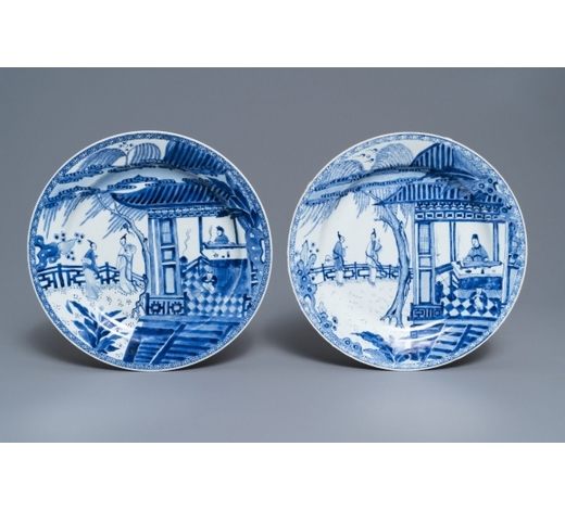 Rob Michiels AuctionsTwo Chinese blue and white 'Romance of the Western chamber' dishes, Yongzheng