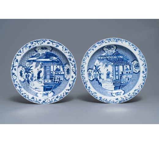 Rob Michiels AuctionsA pair of Chinese blue and white 'Romance of the Western chamber' dishes, Yongzheng