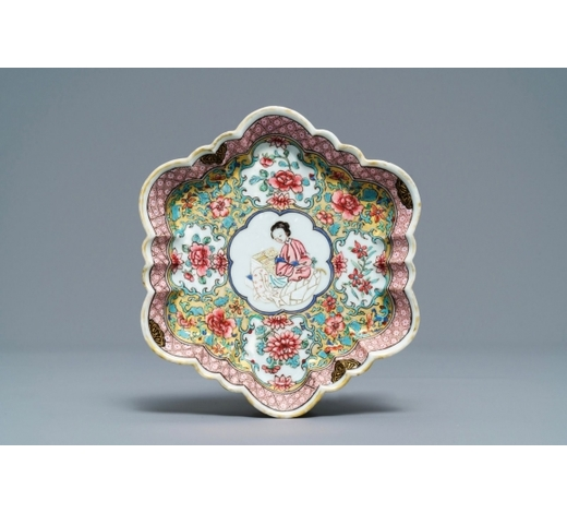 Rob Michiels AuctionsA fine Chinese famille rose pattipan or teapot stand, Yongzheng