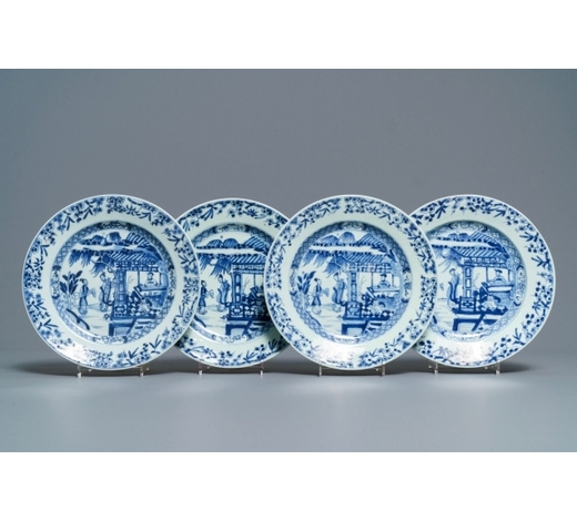 Rob Michiels AuctionsFour Chinese blue and white 'Romance of the Western Chamber' plates, Yongzheng