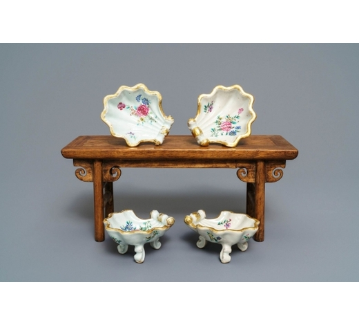 Rob Michiels AuctionsFour Chinese famille rose rocaille-shaped tripod salts, Qianlong