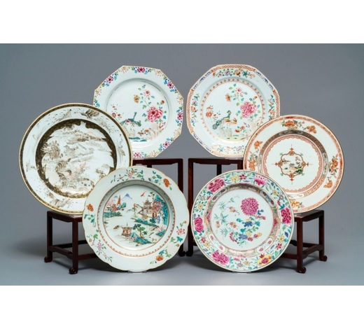 Rob Michiels AuctionsSix various Chinese famille rose, verte and grisaille plates, Yongzheng/Qianlong
