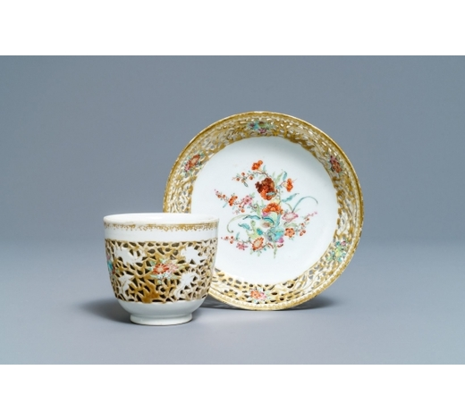 Rob Michiels AuctionsA reticulated Chinese famille rose cup and saucer, Qianlong