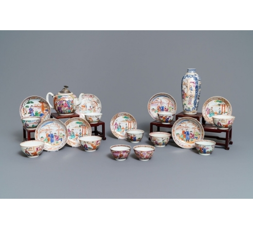 Rob Michiels AuctionsEleven Chinese famille rose 'mandarin' cups, eight saucers, a teapot and a vase, Qianlong