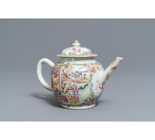 Rob Michiels AuctionsA Chinese famille rose 'mandarin' teapot and cover, Qianlong