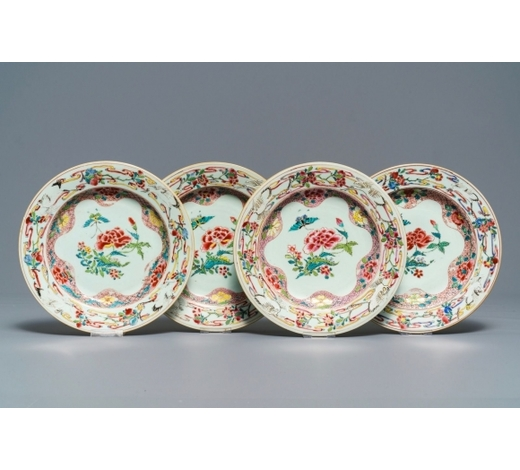 Rob Michiels AuctionsFour Chinese famille rose 'peonies and cranes' plates, Qianlong