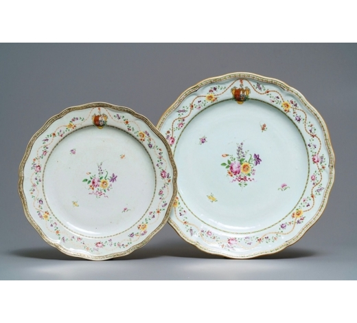 Rob Michiels AuctionsTwo Chinese famille rose Portuguese market armorial dishes, Qianlong