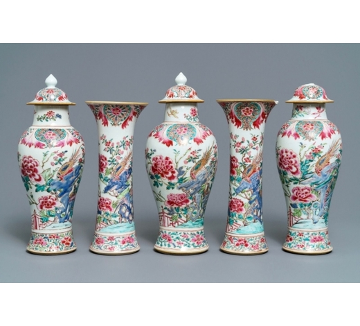 Rob Michiels AuctionsA Chinese famille rose five-piece garniture with birds among blossoms, Qianlong
