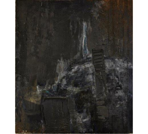 RoseberysH G McKeown,  British late 20th century-  Time Before Winter;  mixed media and oil on canvas, signed and inscribed on the stretcher, 205x181cm (unframed)(ARR)  Provenance: purchased directly from the artist; Private UK collection; gifted to the present owner in 1996