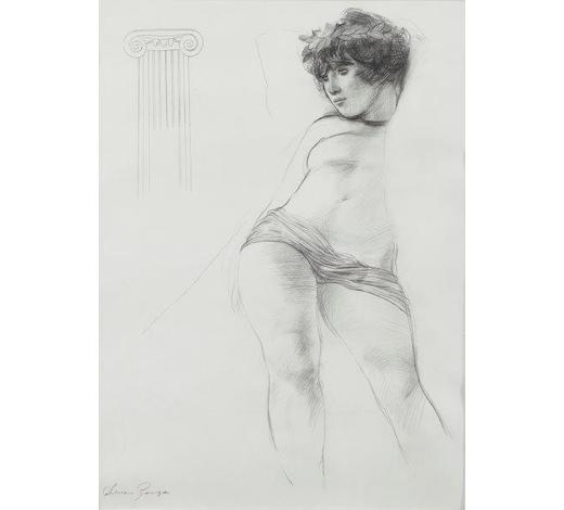 RoseberysAdrian George,  British b.1944-   Classical Study;   pencil, signed, 41.5 x 30.5cm: together with an exhibition poster, 'Adrian George Drawings 1978-1980', Francis Kyle Gallery, 22 April - 16 May 1980, 66 x 41cm, (2)(ARR)   Provenance: Francis Kyle Gallery, London according to the label attached to the reverse of the frame; Bonhams, Knightsbridge, 20 Jan 2004, lot 227