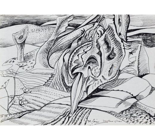 RoseberysDerrick Latimer Sayer, British 1917-1992-  Downland L/Scape, 1982;  pen and black ink on paper, signed, inscribed and dated, 20.7x29.7cm: together with a large quantity of drawings in pen and black ink on paper by the same artist, predominantly from 1982, average 20.7x29.7cm (a lot) (unframed) (ARR)