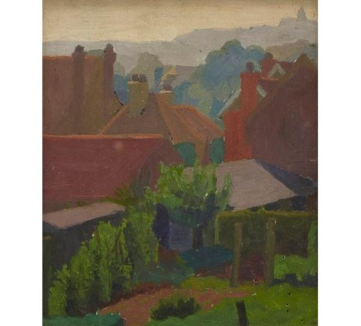 RoseberysCharles Ginner CBE ARA,  British/French 1878-1952-   Backs of Gardens, Oxted, Surrey;   oil on board, signed, 19x16.5cm (ARR)   Provenance: gifted by the artist to Jane Moncur and thence by descent; Christie's, London, 11 November 1988, lot 319; Sotheby's, London, 22 November 2017, lot 118