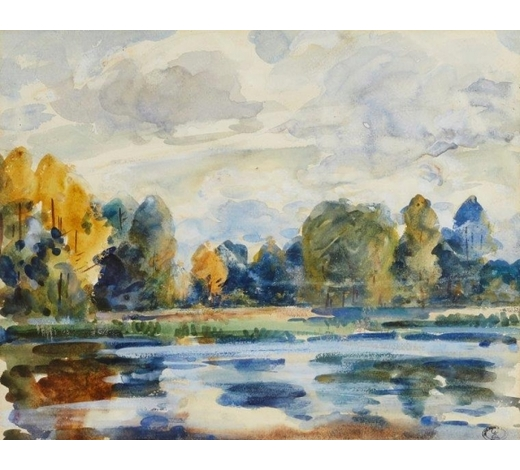 RoseberysWilfred Gabriel de Glehn RA,  British 1879-1951-  On the Colne, Essex;  watercolour, bears studio stamp numbered 632, 39.5x49.5cm (ARR)  Provenance: with David Messum Fine Art, according to the label attached to the reverse of the frame