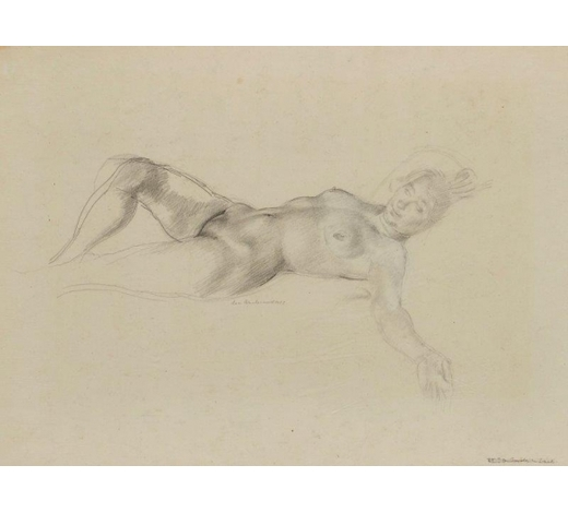 RoseberysLeon Underwood, British 1890-1975-  Nude lying on her back with an arm behind her head, 1922;  pencil and white chalk on beige paper laid on card, signed and dated, bears inscription '8 1919 Slade' on card, sheet 34.5x46cm (unframed)(ARR)  Provenance: the artist's estate; thence by descent