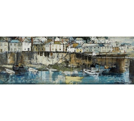 RoseberysGeorge Hammond Steel, British 1900-1960-  Mousehole;  oil on board, signed, 20.5x58cm (ARR)  Provenance: with Ernest, Brown & Phillips Ltd at The Leicester Galleries, London, according to the label attached to the reverse