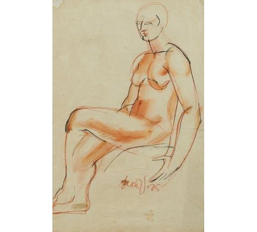 RoseberysLeon Underwood, British 1890-1975-  Seated female nude,1925;  sanguine, black ink and wash, signed and dated, 37x25cm (ARR)  Provenance: the artist's estate; thence by descent