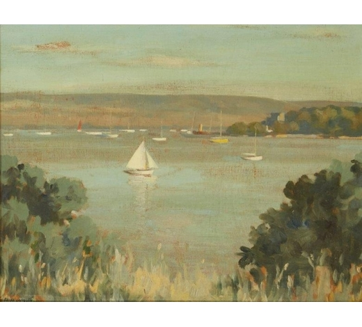 RoseberysFrank Jameson, British 1899-1968-  Sail boats in a harbour;  oil on panel, signed, 35.5x45.5cm (ARR)