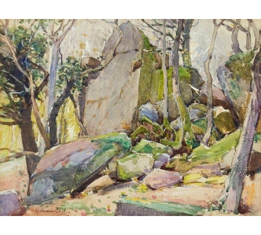 RoseberysSamuel John Lamorna Birch RA RWS, British 1869-1955-  Rocks and Trees;  watercolour, gouache and pencil, signed, 24.5x34.5cm (ARR)  Provenance: purchased from Abbott & Holder, London, c. 1970s