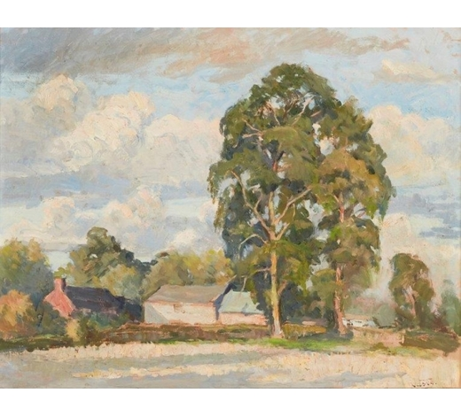 RoseberysGladys Vasey ARCA SWA, British 1889-1981-  Summer Afternoon, 1939;  oil on board, signed, 40.5x50.5cm (ARR)  Provenance: purchased from the exhibition 'Portraits and Other Paintings by Gladys Vasey' at the National Library of Wales, Aberystwyth, 1973  Exhibited: Manchester Academy of Fine Arts, 1939; 'Portraits and Other Paintings by Gladys Vasey', National Library of Wales, Aberystwyth, 1973, cat. no. 18; 'Gladys Vasey: A Retrospective Exhibition', National Library of Wales, Aberystwyth, 1991,