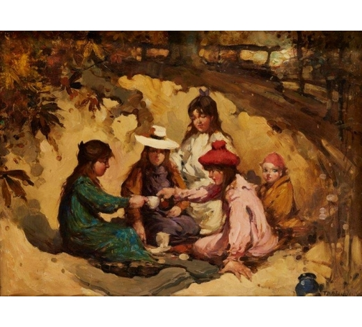 RoseberysThomas Bromley Blacklock,  Scottish 1863-1903-  The Picnic;  oil on canvas, signed, 46x61cm  Provenance: Christie抯, Edinburgh, 26th October 2000, lot 16, where purchased by the present owner  Note: Thomas Bromley Blacklock, born in Kirkcudbright, became known for his paintings of scenes of children playing, regularly using the local landscape around him as the setting. For a similar painting see 'The Nest' in The Stirling Smith Art Gallery & Museum collection (no. 8120).