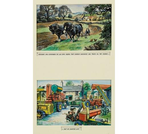 RoseberysNorman Thelwell, British 1923-2004-  'Everybody who remembers the old days agrees that modern machinery has taken all the colour...out of country life';  ink and watercolour images on paper, two, in a shared mounted, signed and titled, each 16x26cm (ARR)  Exhibited: The British Art of Illustration 1850-2000, Chris Beetles Ltd, London, 2000, cat. no. 774