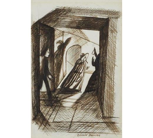 RoseberysEdward Bawden CBE RA,  British 1903-1989,   Cloak and Dagger;   pen and ink, signed, 16.5 x 11.5cm (ARR)  Provenance: with Arthur Tooth & Sons, London according to label attached to the reverse of the frame