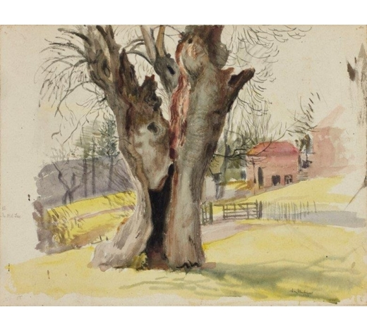 RoseberysLeon Underwood,  British 1890-1975-  The Old Tree, 1922;  watercolour on paper laid on card, signed, titled, and dated, 39x51cm (unframed)(ARR)  Provenance: the artist's estate; thence by descent