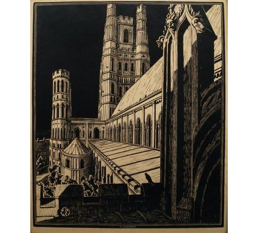 RoseberysAMENDMENT: please note the medium of this work is linocut on wove.  Gwen Raverat SWE,  British 1885-1957-   Ely Cathedral, c.1935;   woodcut on wove, a design for a poster for the London & North Eastern Railway (LNER), plate 62x51cm (ARR)