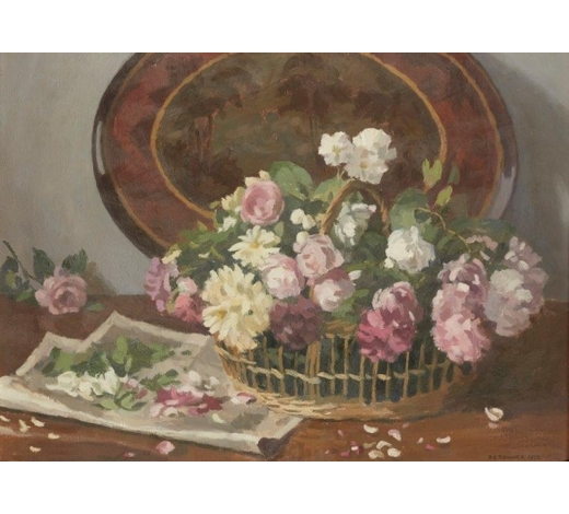 RoseberysDonald Towner,  British 1903-1985-  Still life of flowers in a basket, 1973;  oil on canvas, signed and dated, 53.5 x 71.5cm (ARR)