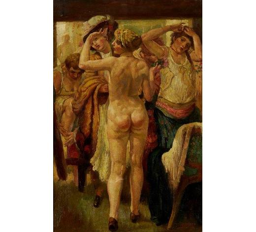 RoseberysJ Feldman,  early 20th century-   Nude woman in crowded changing room;   oil on canvas, signed, 65 x 43.5cm (ARR)