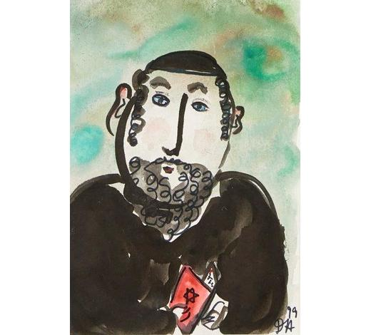 RoseberysDora Holzhandler, French/British 1928-2015-  A rabbi, 1999;  watercolour and felt tip, signed with initials and dated, 19.5x13cm (ARR)
