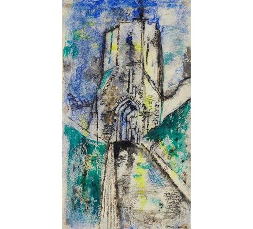 RoseberysJames Neal, British 1918-2011-   Path to a castle gate, 1954;  ink, watercolour, and pastel on crumpled tissue paper laid down on paper, signed and dated, 46.5x27cm (unframed)(ARR)