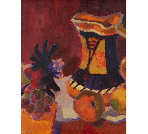 RoseberysDiana Sylvester RWA ROI,  British 1924-2009-   Orange Myott;   oil on panel, signed, 40.7x34cm (ARR)   Exhibited: Royal Academy Summer Exhibition, 1985, according to the label attached to the reverse