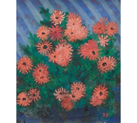 RoseberysLady Joan Zuckerman,  British 1918-2000-   Pink Asters;    gouache on board, signed with initials, inscribed on the reverse of the frame, 23 x 19cm (ARR)   Provenance: with  Fortescue Swann Galleries, London, according to the label attached to the reverse