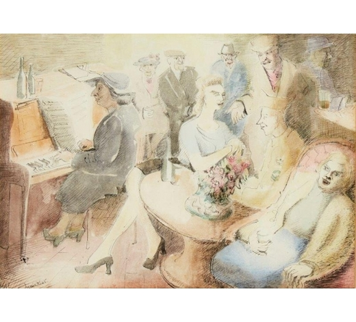 RoseberysBlair Hughes-Stanton, British 1902-1981-   Song;   ink and watercolour, signed and dated 45, 25 x 34.5cm, (ARR)  Provenance: with Blond Fine Art Ltd, London, catalogue no. 22, 18 May 1984, and thence by descent; bears label on the reverse of the frame